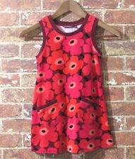Marimekko Maija Isola Unikko Poppy Dress 4 / 5 Years 104 / 110 Red Floral Velour