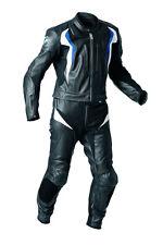 Black Blue BMW Motorcycle Leather 2 Piece Suit Biker Jacket Trouser Men XS-3XL