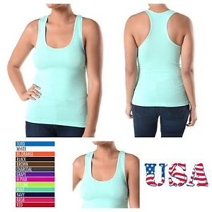 New Women Basic Plain Solid Plus Size Racerback Tank Top Yoga Gym Sports Tee