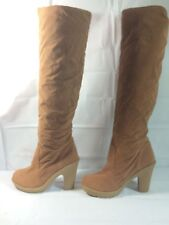 Womens Faux Suede Fur lined Fashion Boots Size 8 1/2 Camel Color