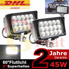 2x 45w LED Arbeitsscheinwerfer Scheinwerfer SUV 4X4 4WD Kfz Lkw Bagger 12v 24v