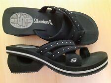 Ladies Womens Black Toe Post Wedge Sandals Shoes- Skechers- Size UK 5 EU 38 US 7