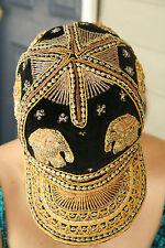 VTG 1970s KALAGA BURMA TAPESTRY THAI ELEPHANT SEQUIN BEADED HAT CAP BOHO HIPPIE