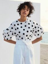 ZARA WHITE OR BLACK POLKA DOT T-SHIRT PUFFY SLEEVES SS17 SIZES L & XL NEW TAGS