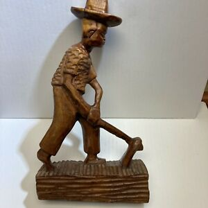 Haitian Haiti Vintage Wood Carving Farmer Hat Color Stained 1971