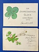2 New Year Antique Postcards YEAR DATES 1903, 1904. For Collectors w Value