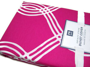 Pottery Barn Teen Multi Colors Pink Infinity Stripe Twin Duvet Cover 1 Sham New