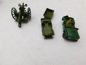 VINTAGE PLASTIC TOY ARMY JEEPS, TRAILOR & CANNON