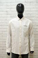 Camicia JACK & JONES Uomo Taglia XL Maglia Chemise Shirt Man Cotone Lino Bianco