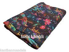 King Size Bird Print Kantha Quilt Sari Indian Kantha Bedspread Kantha Rallies