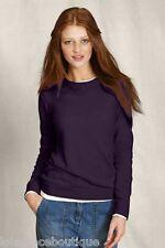 LANDS END CANVAS LEC 100% Cashmere Sweater Tee XXS 00 0 2 Grape Purple NEW NWOT