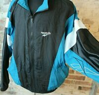 VTG 90s Reebok Windbreaker Colorblock Black Teal White Men's XL Lined Jacket EUC