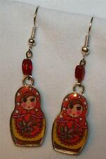Delightful Red & Pink Floral Russian Princess Dolls PIERCED Earrings