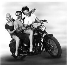 Marlon Brando Riding Motorcycle All Smiles with Two Women 8 x 10 inch photo