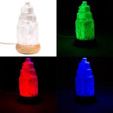 LAMPE EN PIERRE DE SÉLÉNITE BLANCHE 12cm - LED ROUGE VERT BLEU - USB ET SECTEUR