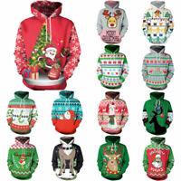Christmas 3D Graphic Print Xmas Hoodie Sweatshirt Pullover Jumper Tops Shirt