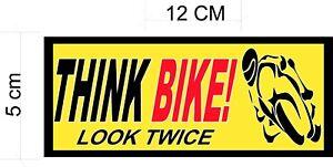 Think Bike, Car Sticker, Van Sticker - Biker Safety, For Car Windows x 2