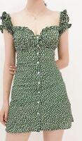 Mini Flower Design Dress Short Empire Sweetheart Neckline Puff Sleeve Woman Wear
