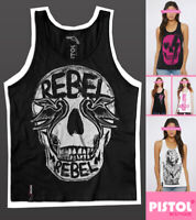 Pistol Boutique Women's Black casual REBEL SWALLOWS SKULL Sleeveless Vest Top