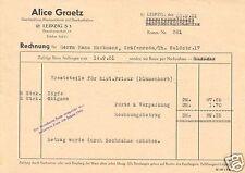 Rechnung und Preisliste, Fa. Alice Graetz, Leipzig S 3, Haarhandlung, 20.9.1951