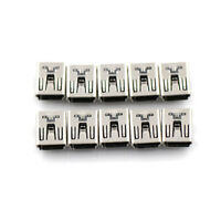 10X Mini USB Female 5 Pin Type B Right Angle PCB Socket Connector 2 Legs DIY NSH