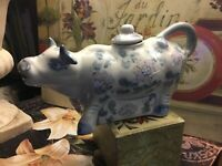 """Lt Blue & White~Floral~Cow Creamer W/Lid~French Country/Cottage-8""""L-FREE SHIP!"""