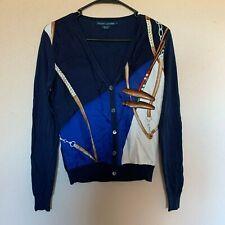 RALPH LAUREN Equestrian Horsebit Sweater Cardigan 100% Silk Women's Size Small