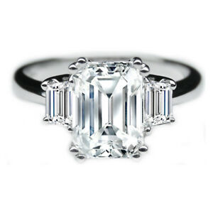 2.10Ct Emerald Cut Solitaire Diamond Engagement Ring 14K Solid White Gold Size 7