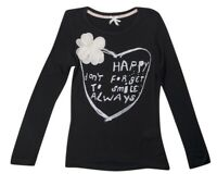 Brand New Next Happy Heart Flower Embellished Girls Black Long Sleeved Top