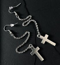 """Silver Cross Earrings Long 5"""" Dangle on Stainless Steel Chain--Religious/Gothic"""
