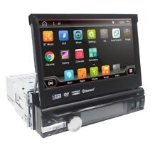 """Android 9.0 7"""" Single DIN DAB Radio Head Unit GPS Sat BT Flip-out CD DVD Stereo"""