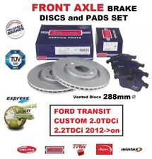 FRONT BRAKE PADS + DISCS 288mm for FORD TRANSIT CUSTOM 2.0TDCi 2.2TDCi 2012->on