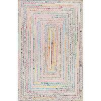 """3x5"""" Ft Rectangle White Braided Cotton Chindi Area Rag Rugs Floors Woven Rug"""