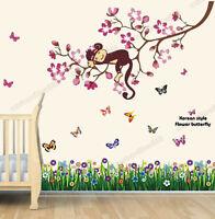 HUGE Flowers Monkey Butterflies Grass Wall Stickers Art Paper Mural Decal Kids