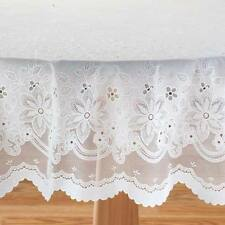 "Vinyl Lace Table Cover Tablecloth 70"" Round Dining Kitchen Tabletop Wipe Cl"