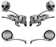 HARLEY DAVIDSON Custom Zombie Skull Gothic Chrome Mirrors (Pair) KURYAKYN 1450