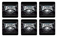 "PHILADELPHIA EAGLES COASTERS 1/4"" BAR & BEER SET OF 6"