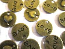 10 o 20 Dijes Joyas scrapbook adorno de bronce de amor
