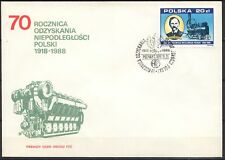 POLAND 1988 FDC SC#2882 METAL WORKS in POZNAN, Lokomobila steam in 1883