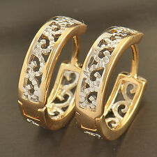 Fashion 9K Gold Filled 2-Tone Openwork Womens flower Hoop Earrings Jewelry