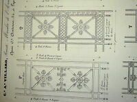 Gravure ORNEMENTATION STYLE NEOCLASSIQUE DECORATION MOBILIER BRONZE LYON 1838 d