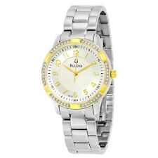 Bulova Women's 98L176 Swarovski Crystal Accented Bezel Quartz Two Tone Watch