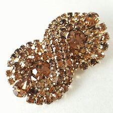 Signed KRAMER Vintage Brooch Pin Brown Crystal Rhinestone Figure 8 Pave B20