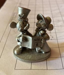 1980s Schmid Walt Disney Fine Pewter MICKEY & MINNIE Carolers