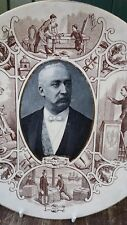 Vintage French Sarreguemines Majolica Plaque le président Felix Faure 19 th