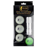 On Par Glow V1 Golf Balls with Ultra-Violet LED Torch - Glow in the Dark Golf Ba