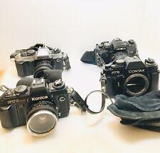 4 Film Camera Konica Ft-1 & Motor , Minolta X-700 with lens, Contax Rts body