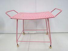 Vintage Mid-Century Pink PIN LEGS & Metal Mesh Vanity Bench Stool Ottoman  1602