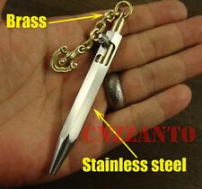 Steel shell + Brass Bolt Action rifle style ball point pen + brass chain pendant