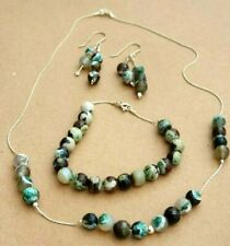 Natural Agate Stones Beads Sterling Silver Earring Necklace Bracelet Set 35 gr